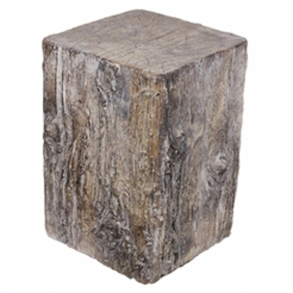 Picture of Antique Square Tree Stump Cement Stool,  Brown